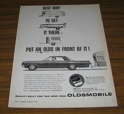 1963 Vintage Ad '63 Oldsmobile Pulls Travel Trailer Olds Best Way to