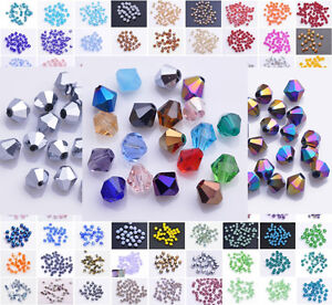 Hot-100pcs-4mm-Shiny-Faceted-Crystal-Glass-SW-5301-Bicone-Loose-Spacer-Beads