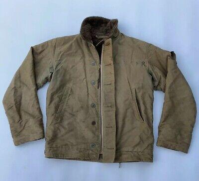 Vintage 1940s WW2 US Navy N-1 Deck Original jacket Full Front Zipper Size M, used for sale  Alexandria