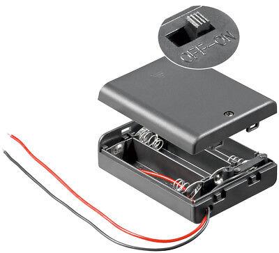 Batteriehalter 3x Mignon AA R6, Bauform 3 geschlossen, mit Anschlusskabel