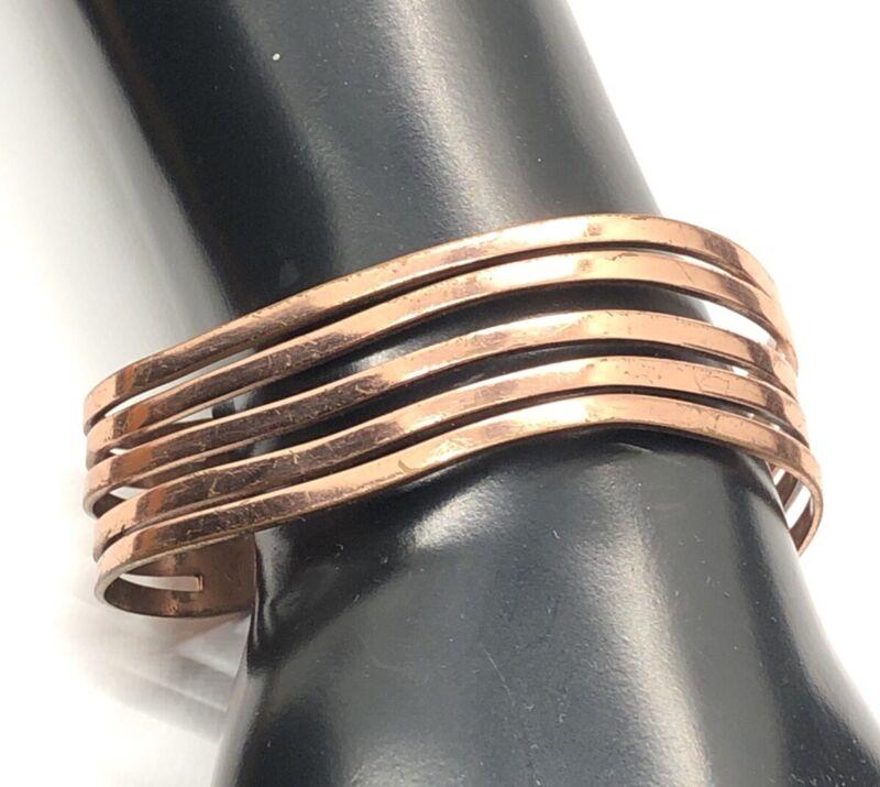 """Vintage Copper Bracelet Signed Renoir Cuff Modernist 6.5"""""""