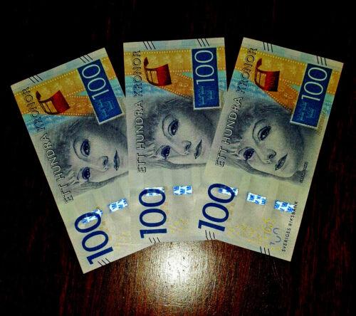 Sweden 3 consecutive notes 100 kronor gem Unc