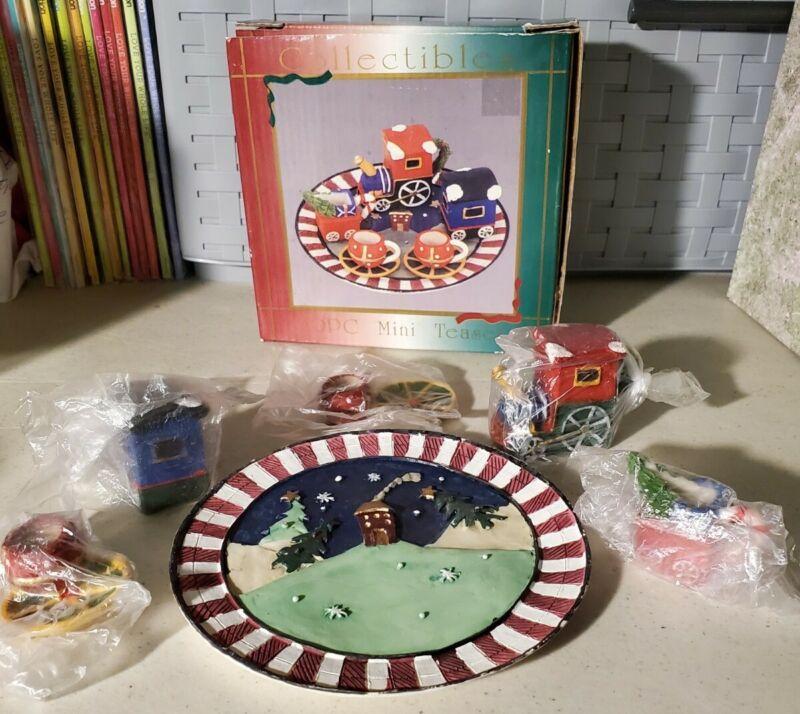 Super Rare Vintage Family Dollar 10 Piece Mini Tea Set Tea Pot Train Set For 2