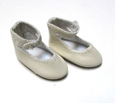 Doll Shoes  41Mm Cream Leather Ankle Straps Fit  Global Bleuette