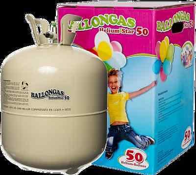 Helium Ballongas für 50 Luftballons Einweg Heliumflasche Folienballons Ballon