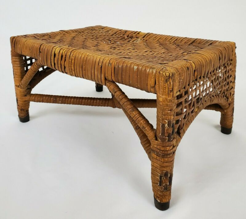 Antique Asian Weaved Rattan Stool Footstool Plant Stand Bohemian Mid-Century