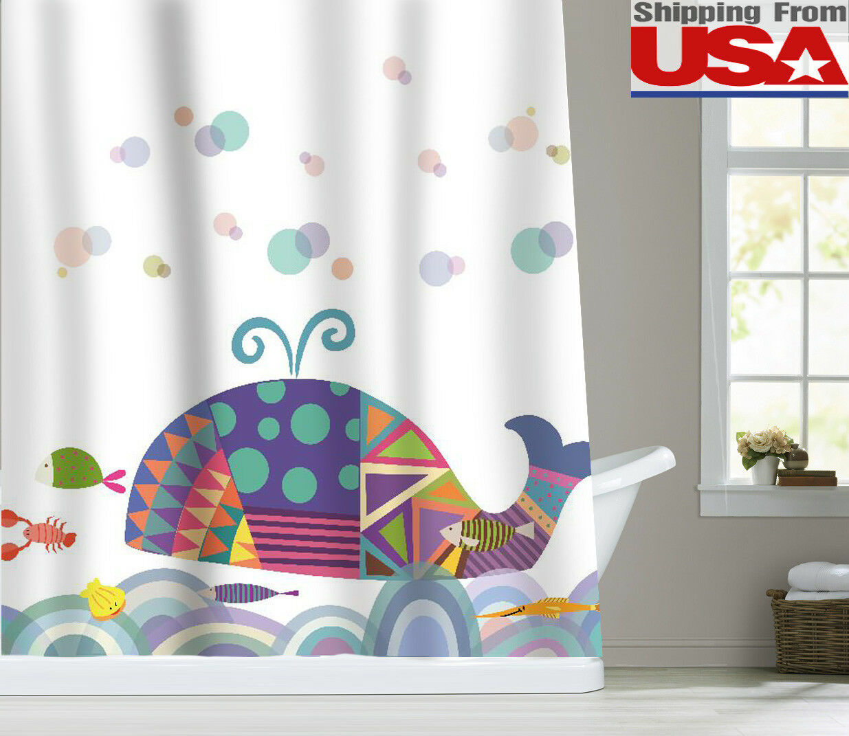 Colorful Whale Waterproof Fabric Shower Curtain Bathroom Decor ...