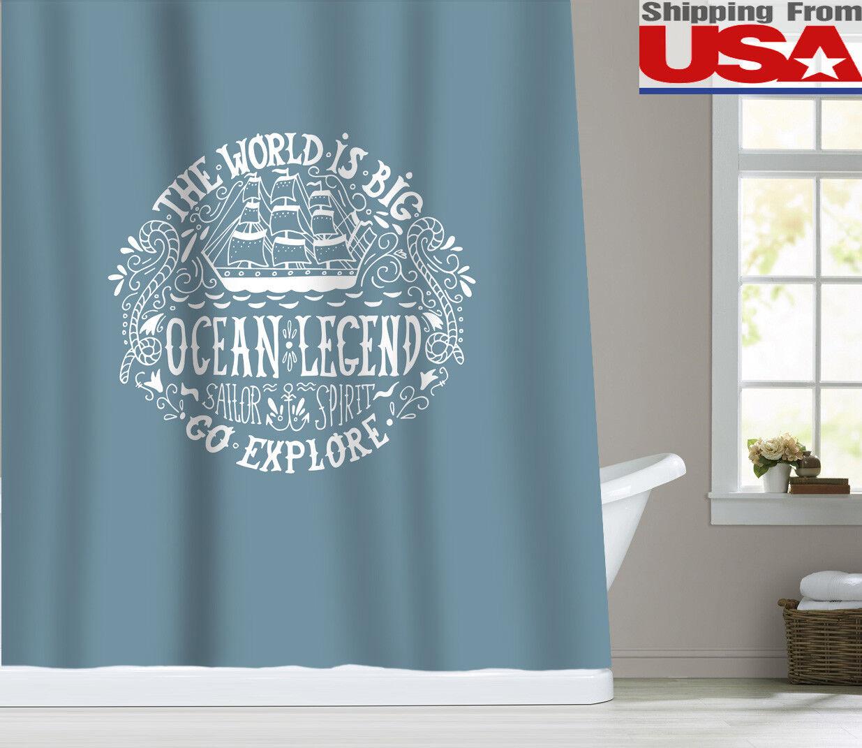 Nautical Sailor Explore Fabric Shower Curtain Bathroom Decor Ocean Pale Blue 72