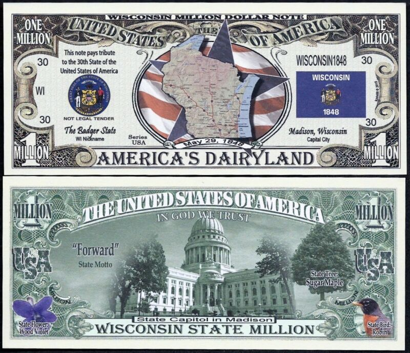 WISCONSIN STATE MILLION DOLLAR w MAP, SEAL, FLAG, CAPITOL - Lot of 2 BILLS