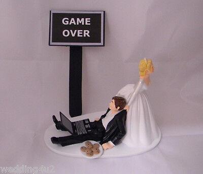 Wedding Reception ~Computer Laptop~ Geek Nerd Cookies Cake Topper Game Over Sign - Wedding Reception Games
