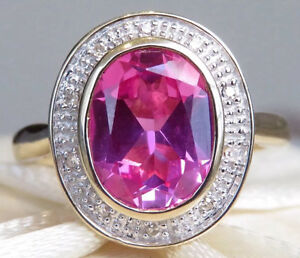 9ct yellow gold genuine diamond pink sapphire ring Darch Wanneroo Area Preview