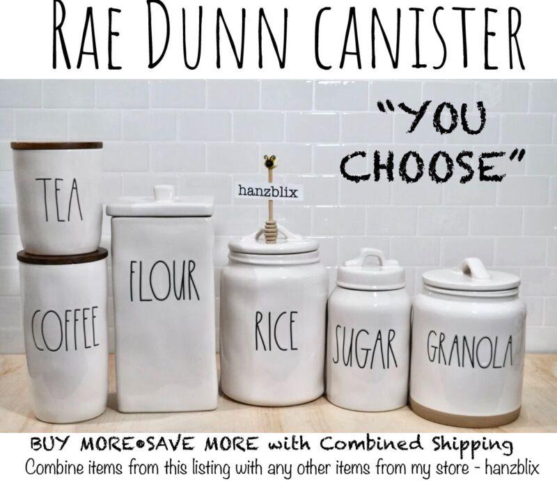 "Rae Dunn Canister COFFEE SUGAR TEA FLOUR COCOA PANCAKE MIX ""YOU CHOOSE""NEW"