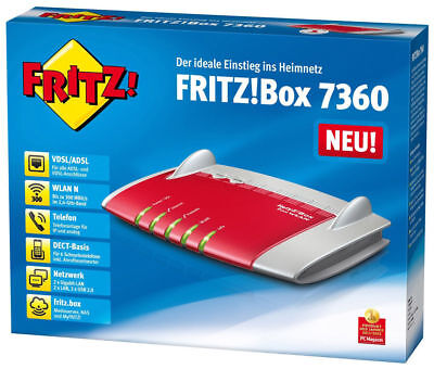 AVM FRITZ!Box 7360 Wlan Router /VDSL/ADSL, 300 Mbit/s, DECT-Basis, Media Server/