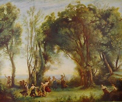 Authentic Antique Lithograph - THE DANCE OF THE NYMPHS (Corot) - Vintage Art