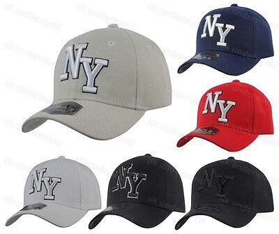 Mens Ladies New York NY Plain Baseball Cap Adults Curved Peak 6 Panel Sun Hat