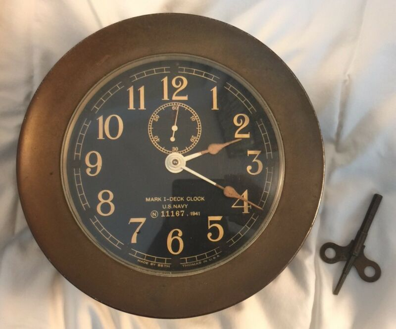 Mark 1-Deck Clock, U.S. Navy, N 11167, 1941. Made by Seth Thomas in U.S.A.
