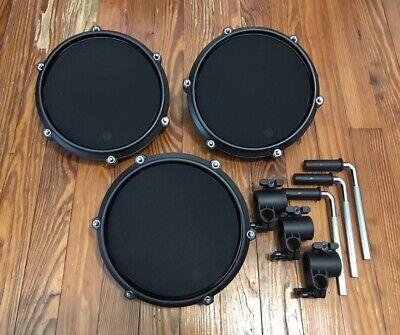 "Set of 3 Alesis 8"" Mesh Drum Pads NEW w/Nitro Clamp & Bar Single Zone Turbo Kit"