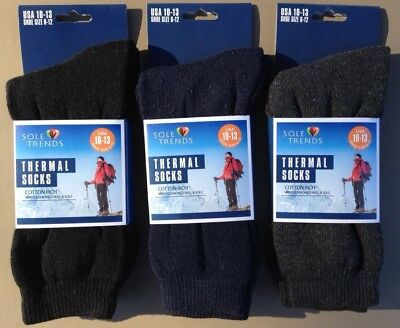 Cotton Rich Thermal (3x Mens SOLE TRENDS Cotton Rich Thermal Crew Socks Black/Gray/Navy~Size 10-13 )