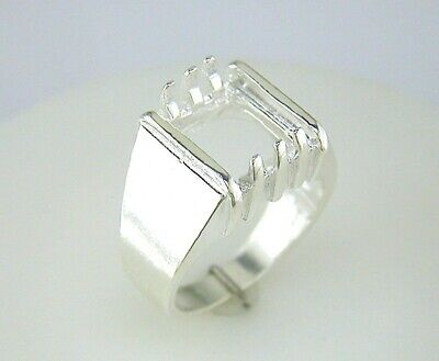 Mens Emerald Shape Ring Setting Sterling - Emerald Shape Ring