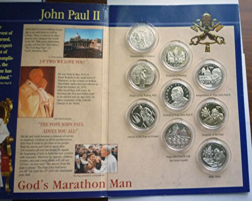 2005 ORDER OF MALTA - OFFICIAL MINT BU 10 LIRA SET (9) - POPE JOHN PAUL II -RARE
