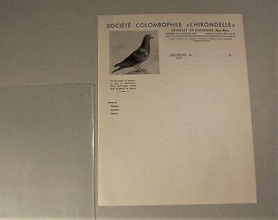 1930/40 SOCIÉTÉ COLOMBOPHILE L'HIRONDELLE, Sélestat et Environs, Bas-Rhin, Taube