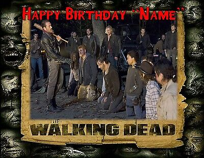 ZOMBIE PARTY !! WALKING DEAD Edible Cake Topper Image  - quarter and half size - Walking Dead Cakes