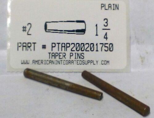 "#2X1-3/4 TAPER PIN STEEL PLAIN .193"" LARGE END DIAMETER (10)"
