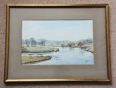 Excellent large original signed watercolour by M Parker 'A Meandering River'