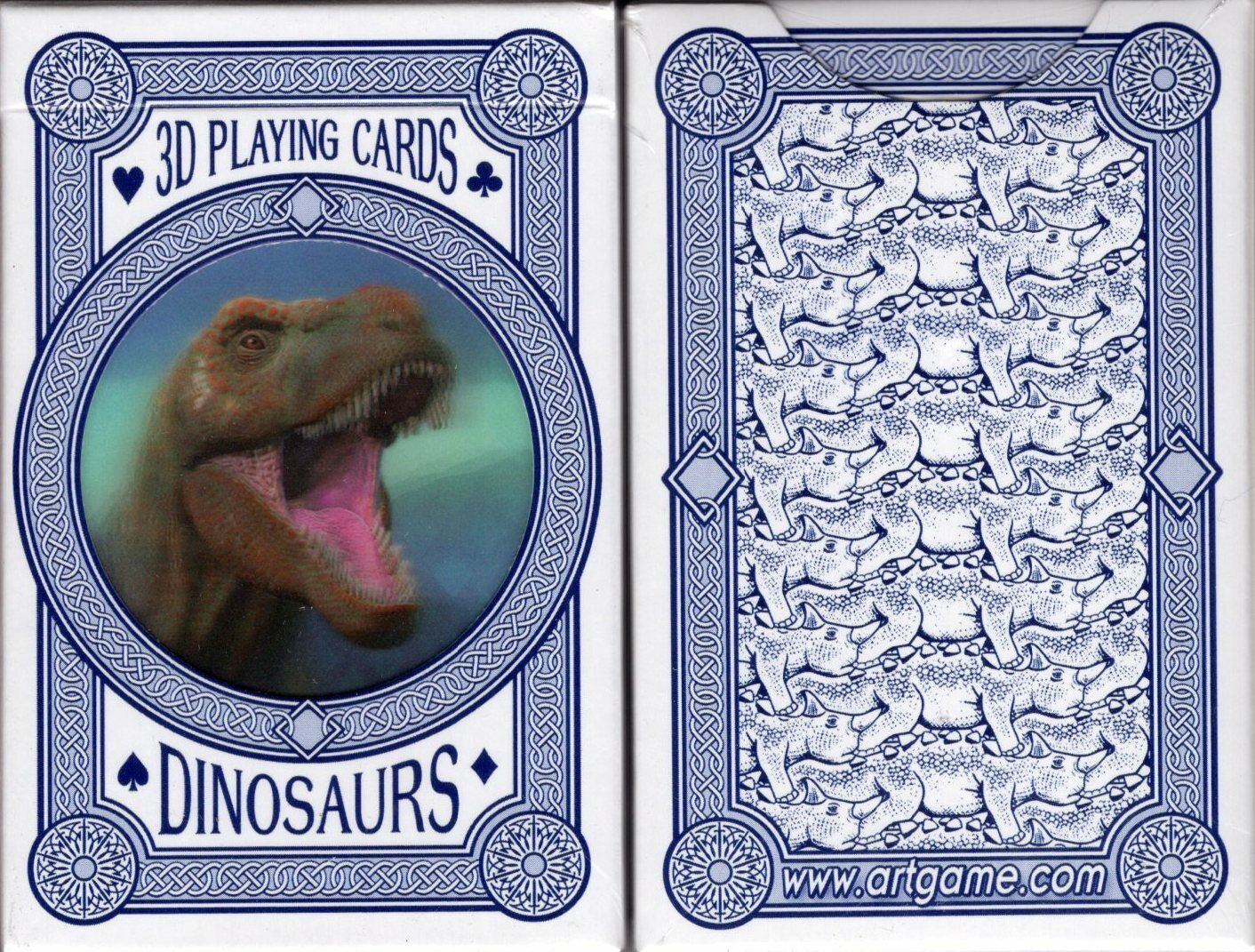 3D Dinosaurs Playing Cards Bridge Size Plastic Deck Artgame Custom Limited New
