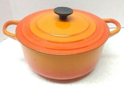 Vintage Le Creuset Round C 2.5 qt Orange Flame Cast Iron Dutch Oven Pan France