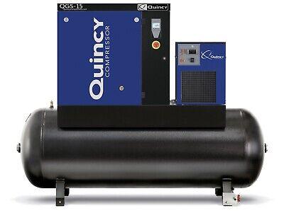 2021 Quincy Qgs-15 Rotary Screw Air Compressor 15 Hp W Dryer 120 Gallon Tank