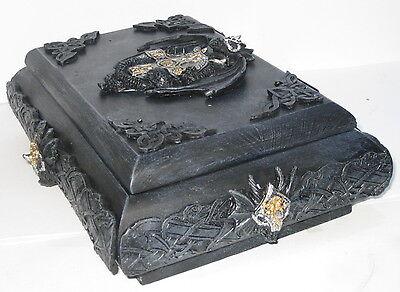 Zigarren Kiste, Drachen Schatulle, Polyresin Aufbauten, rar, 27x19x10cm