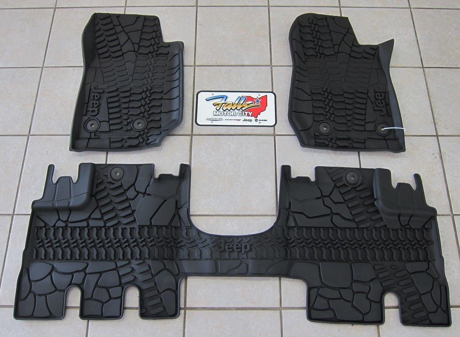 2014 18 Jeep Wrangler JK Unlimited RHD All Weather Rubber Slush Floor Mats  Mopar