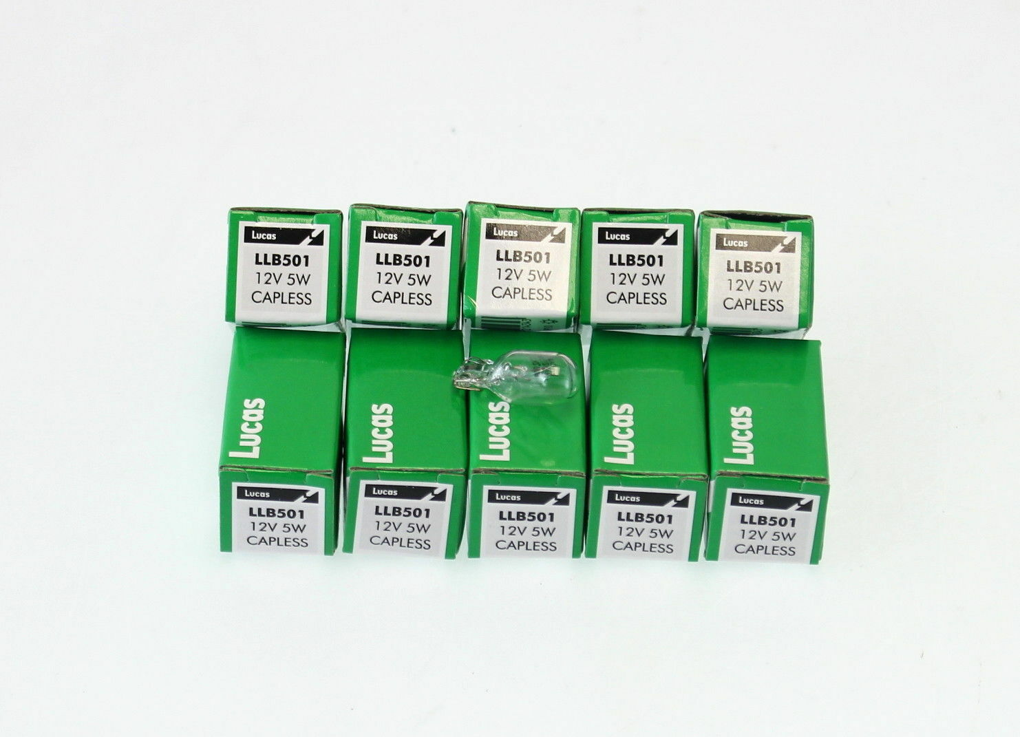 Car Parts - 10x Genuine Lucas Capless Bulbs 501 LLB501 12v 5W Side Light Number Plate Bulb