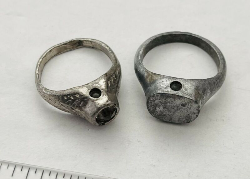 Antique French Nude Picture Lady Stanhope Metal Rings