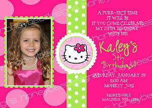 Pink Polka Dot Hello Kitty Birthday Party Invitations Personalized Printable 5x7