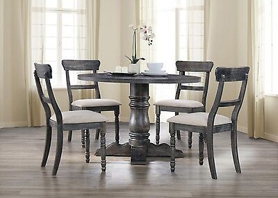 ASPEN 5PC TRANSITIONAL ANTIQUE GRAY FINISH WOOD ROUND PEDESTAL DINING TABLE (Aspen Table Set)