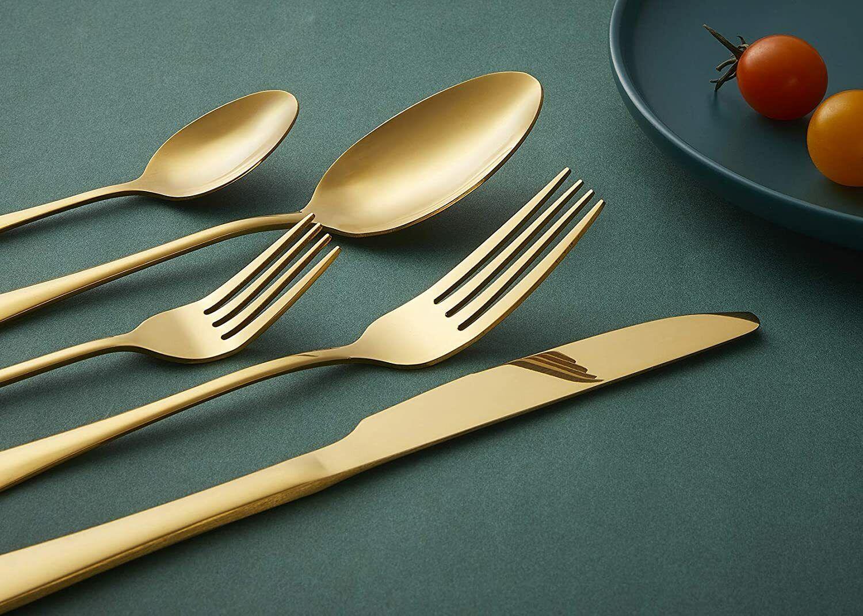 20 piece gold cutlery set heavy duty