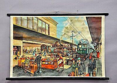 """Alte Schulwandkarte """"am Bahnhof"""" von Rudolf Dirr ca. 1950er"""