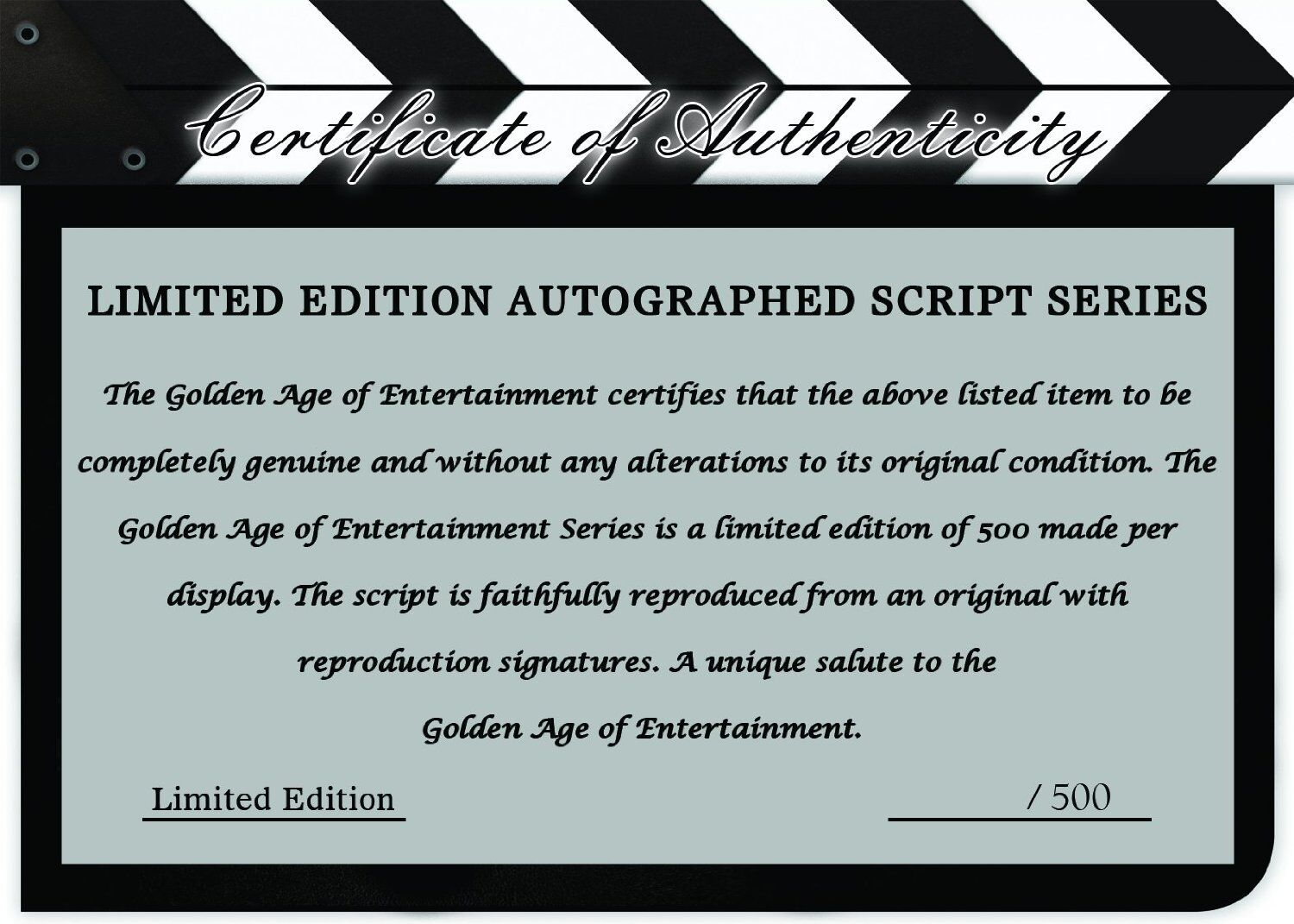 """Schindlers list ltd edition reproduction signed movie script display """"c3"""""""
