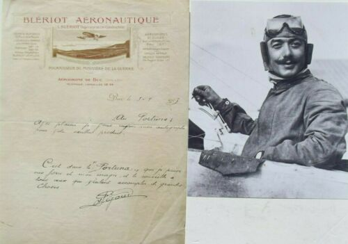 Adolphe Pegoud 1st Fighter Ace, Aviation Pioneer KIA 1915 Signed Letter