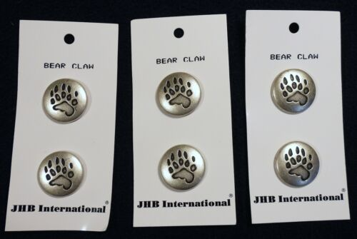 """Vtg 1990s JHB International 6 CARDED BUTTONS Antique Silver Bear Claw 3/4"""" Italy"""