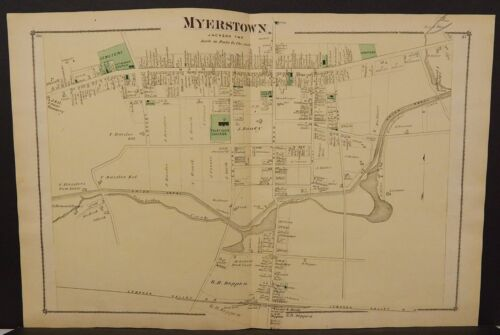 Pennsylvania Lebanon County Map Myerstown 1875 Double Page W15#35