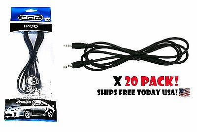 20 Pack 5 Feet 3.5mm Auxiliary Cord Male Car Aux Stereo Audi