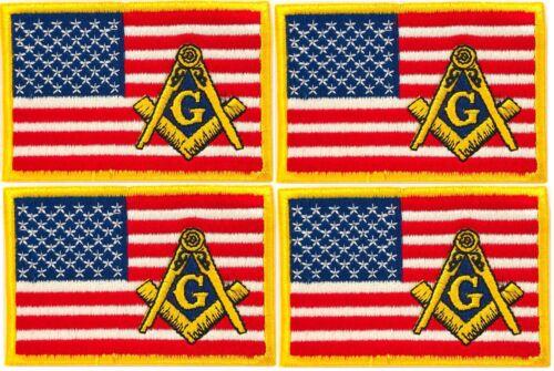 MASONIC REGALIA US AMERICAN FLAG EMBROIDERED PATCH FREEMASON SQUARE COMPASS 4PCS