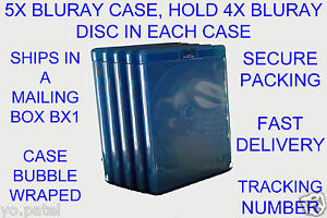 5x-Blu-Ray-Case-Hold-4-Blu-Ray-Disc-Clear-Plastic-on-front-for-Artwork-15mm
