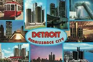 Detroit Michigan Motor City Renaissance Center Trolley Downtown Postcard