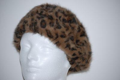 Parkhurst faux Fur Reversible Leopard Print angelica Angora Beret 17265