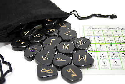 FREE SHIPPING - Black Obsidian Gemstone Rune Set w/ FREE Velvety Pouch