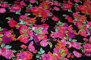 1m x 1.6m - 'PALM COVE' FLORAL Print Lycra Fabric - Swimwear, Maxi Dresses